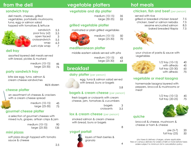 Catering Menu Inside